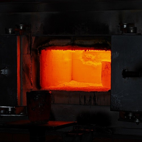 heating material in furnace