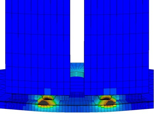 cross section of parallel gap welding simulation